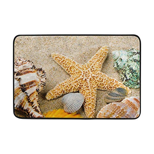 BriHutt Marine Frame with Colorful Sea Shells Funny Decor Home Doormat Non-Slip Mat 23.6x15.7 Inch