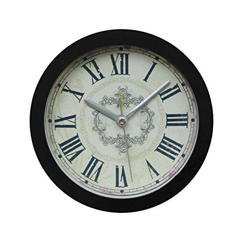 Zarupeng Einfacher Wecker, Nostalgie Glocke Tischuhren Creative Vintage Elektronischer Wecker Analog Quarzwecker, Schlummerfunktion, Kein Ticken (12 x 12 cm, Schwarz)