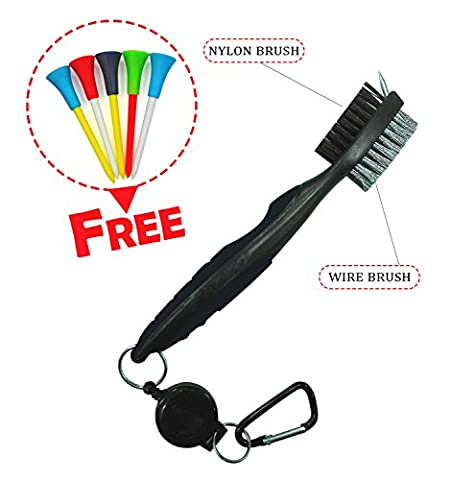 Brush and Groove Cleaner Golf - Dual Sided Nylon & Steel Brush With Spike for Cleaning Club Face & Groove - Comes With Loop Clip (Carabiner) For Easy Hanging on Golf Bag - Ergonomic Design - Easy to Use Non-Slip Grip Handle
