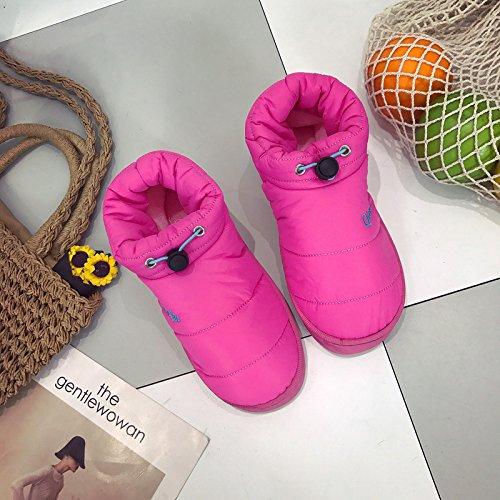 LaxBa Femmes Hommes Chaussures Slipper antiglisse intérieur La Femelle Rouge