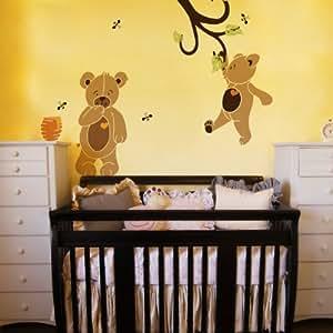 Kit de pochoir pour ours Teddy Bear-Papier peint Mural pour chambre d'enfant