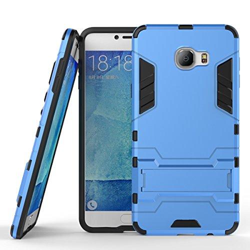 Wkae Case Cover 2 in 1 New Armour Tough Art Hybrid Dual Layer Rüstung Defender PC Hard Cases mit Ständer Stoß- Fall für Samsung Galaxy C7 ( Color : Blue Black , Size : Samsung C7 ) Blue