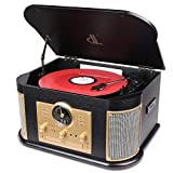 Giradischi dl 7-in-1 Vinile Turntable con Bluetooth,FM Costruito Dentro Altoparlanti Stereo, Costruito dentro Altoparlanti Stereo,CD, MP3,CASSETTE,USB Record Player