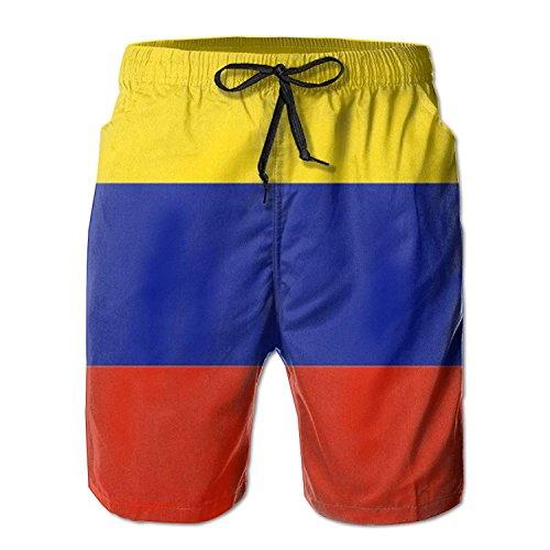 khgkhgfkgfk Colombia Flag Men's Beach Shorts Swim Trunks Large