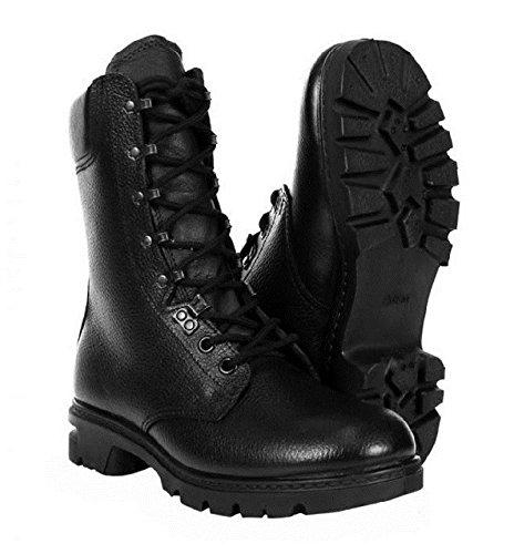 Paire DE Rangers Armee HOLLANDAISE/Chaussure Montante en Cuir Noir avec Lacet ET Crochet Miltec 12806000 Botte DE Combat Militaire RANGEOTS Randonnee Airsoft