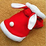 KINGDUO Weihnachten Haustier Kleidung Mode Niedlich Kaninchen Plüsch Hund Bekleidung Pet Hoodie Kostüm Winter Kleidung-Rot XS