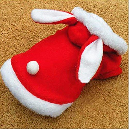 DaDago Weihnachts-Haustier-Kleidung Mode Kaninchen Plüsch-Hunde-Pete Hoodie Kostüm Winter Kleidung - Rot - M