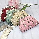 YGQersh Mignonne fleur imprimée femmes porte-monnaie baiser fermoir porte-monnaie sac de poche mini sac - rouge