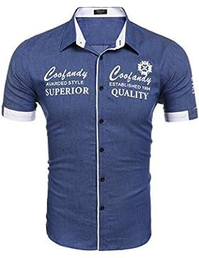 COOFANDY Herren Kurzarmhemd aus Baumwolle mit unterschiedlichen Stickereien Slim-fit Form lässiges Hemd