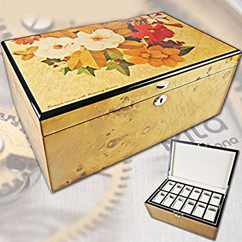 QPSSP Bois De Chêne Burl Peinture Écrin Watch Collection Box Piano Nuit Des Cadeaux D