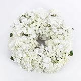 artplants Sommerlicher Hortensienkranz aus künstlichen Blumen auf Rattan, Creme-weiß Ø35 cm - Deko Kranz für Tür, Tisch oder Wan