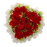 Fenteer Kunstblumen Kranz Dekokranz Grabschmuck Autoschmuck Wanddeko Türdeko, aus Seiden Hortensien - Rot