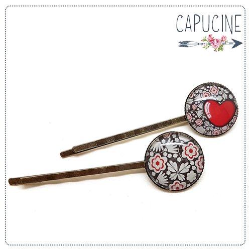 2 pinces bronze cabochons verre coeur et fleurs - pinces cheveux fleurs et coeur - Barrettes cheveux illustrées - Le Cœur en Fleurs