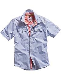 Timezone homme chemise à manches courtes petit bleu carreaux