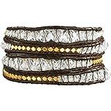 Rafaela Donata - Bracelet en cuir véritable - Cuir véritable cristal de verre, bracelet cristal de verre, collier en cuir véritable, bijoux en cuir - 60831004