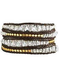 Rafaela Donata Damen-Armband Leather Collection Leder dunkelbraun Metallbeads goldfarben Glaskristall klar 60831004