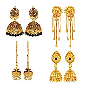 Golden Glow South Indian Style Combo of 4 Earrings by GoldNera
