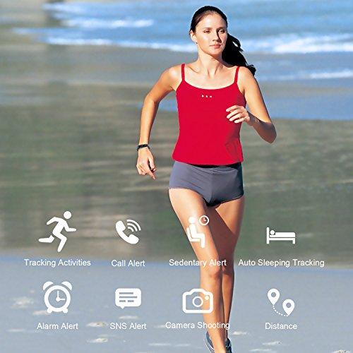 Muzili Fitness Armband Wasserdicht Fitness Tracker Sport Armband Fitness Uhr Aktivitätstracker mit Schrittzähler/Schlafmonitor/Anruf Nachricht Benachrichtigung für Kinder Frauen und Männer(Blau) - 2