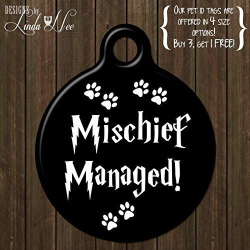 Funny Pet Tag Mischief Managed Hund Tag, Personalisierbar, Erkennungsmarke für Haustiere, Pet ID, Dog Tag, Erkennungsmarke für Haustiere, Pet ID, Geekery, Harry Potter, Funny Tag
