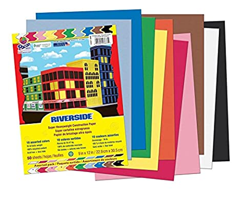 Riverside Construction Paper, 76 lbs., 9 x 12, Assorted, 50 Sheets/Pack, Sold as 1 Package