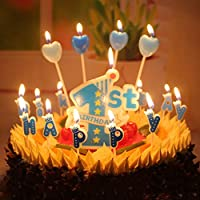 T-shin 1st Birthday Cake Candle,Cute Stars with Letters Candles Set for Baby Girl Kids First One Decor,Anniversary Party Cake Decoration (Blue)