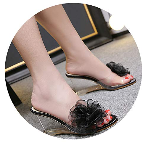 51fd60737c047 Wild-lOVE Woman Shoes Slipper Summer Slip Wedges Slides Slope High-Heeled  Shoes Crystal Flower Sexy Transparent Rhinestone Large Size 41,Black,10