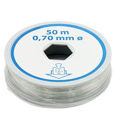Christoph Palme Bastelfaden 0,70mm L = 50 Meter Nylonfaden Transparent Schmuckfaden Angelschnur Deko-Faden Montagefaden bis max. 12,5kg Zugkraft