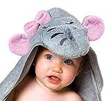 Baby Kapuzenhandtuch mit Elefant (Grau/Rosa) | 100x100 cm | Frottee Badetuch für Neugeborene, Säugling, Kleinkind und Kinder | toll für Mädchen im Bad, Pool und am Strand | begleitet ihr Kind sehr lange, da besonders groß