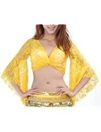 HOEREV ventre tribale danse dentelle manches papillon Top Wrap, Halloween