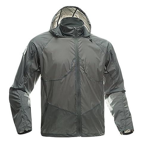 FREE SOLDIER Herren Sport-leichte Jacke Fashion Dünn Windbreaker Reißverschluss Mäntel Quick Dry Haut Fell (grau M)