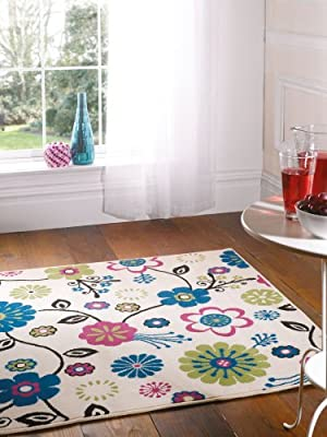 Flair Rugs Element Bohemia Floral Rug, Cream, 120 x 160 Cm - low-cost UK rug store.