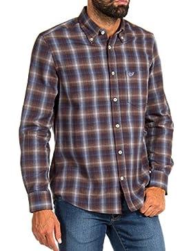 Carrera Jeans - Camisa 213B1220A para hombre, estilo clásico, a cuadros, franela tejido, ajuste regular, manga...