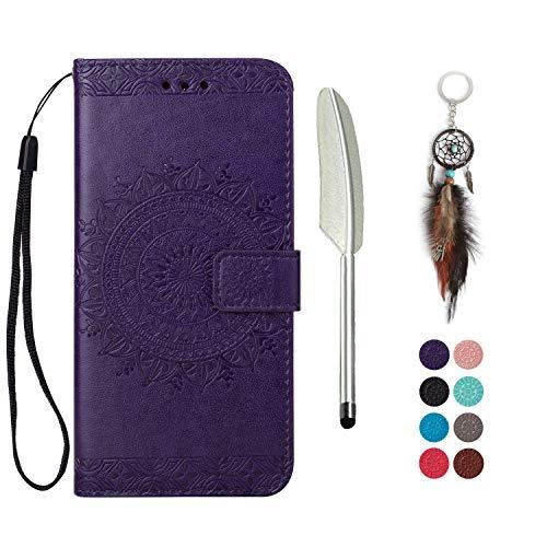 LA-Otter Samsung Galaxy A6 Plus 2018 hülle Leder Mandala Lila Tasche handyhüllen mit Kartenfach Lederhülle Schutzhülle Flip Case Klapphülle