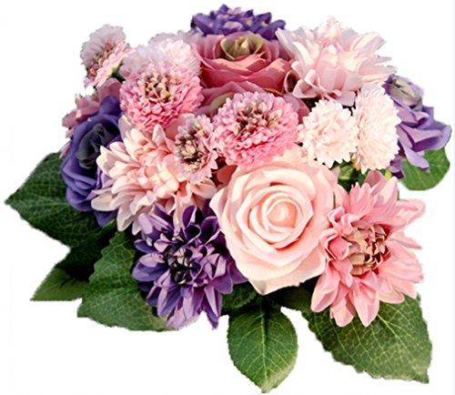 efivs Arts Künstliche Blume 10Kopf Rose Dahlia Daisy Fake Blume Pflanzen Simulation Seide Blumen Blumenstrauß Hochzeit Home Dekoration (Tasche Blumen-seide)