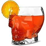 Tiki crâne en verre 38/1.7ltr–Fantaisie en forme de crâne en verre à cocktail, idéal pour les soirées hawaïennes