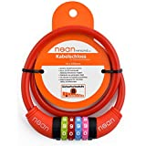 NEAN 88089-stamm, Nean childrens-bicycle-cable-lock, number code combination lock in colourful design, 10 mm x 650 mm big, red, 65 cm (Sports & Outdoors)
