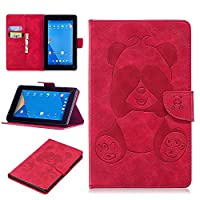DENDICO Kindle Fire 7 Leather Flip Notebook Style Case Cover [Stand Function] [Magnetic Closure] [Card Slots] Slim WeightLight Protective Case for Amazon Kindle Fire 7 - Red