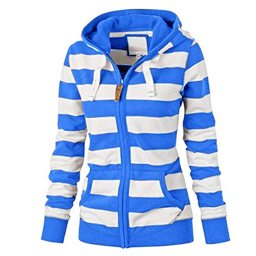 ESAILQ Damen Zipper Tops Hoodie Kapuzenpulli Mantel Jacke LäSsiger DüNner Pullover(Large,Blau)