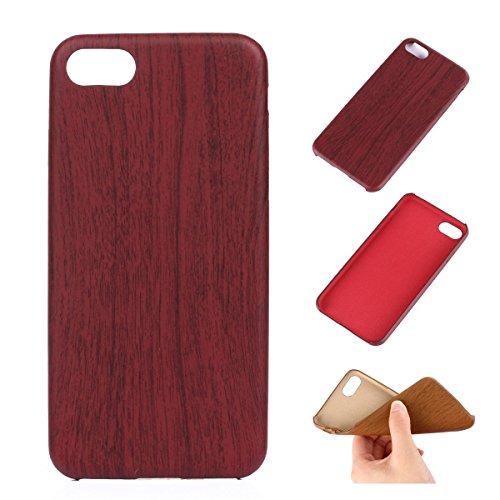 iPhone 7 Hülle,Fodlon® Mode Holz Korn Weich TPU Telefon Schutzhülle-Tief Rot