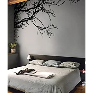 Stickerbrand Tree Wall Decal Sticker - Removable, No Paint Needed, Tree Branch Wall Stencil The Easy Way Black-Left to Right