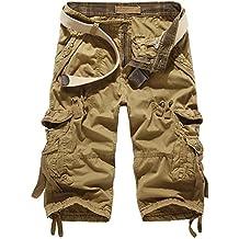 Mochoose Hombre Verano Casual Algodón Twill Cargo Shorts Multi Pockets 3/4 Pantalones de Desgaste al Aire Llibre