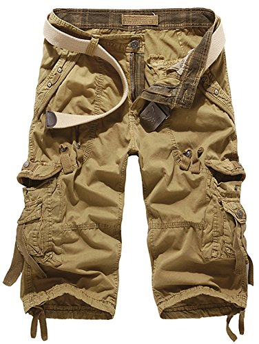 Mochoose Men's Summer Casual Cotton Twill Cargo Shorts 3/4 Multi Pockets Outdoor Wear Pants