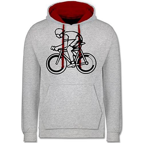 Radsport - Radsport - Kontrast Hoodie Grau Meliert/Rot