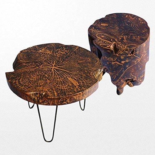 Ensemble en teck massif avec une table et deux tabourets exotiques