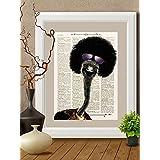Kunstdrucke, ostrich, vogel, Herz auf Antike Buchseite,#OS01