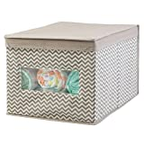 #8: mDesign Chevron Fabric Closet and Home Storage Box for Clothing, Toys, Linen, Spots Gear, Laundry - Large, Taupe/Natural