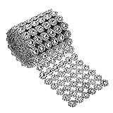 6 Reihen Silber Blume Diamant Mesh Wrap Rolle Faux Kristall Strass Ribbon für Partydekorationen, 4 Zoll x 3 Yards