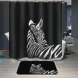 Beddingleer Cortina de Ducha Negro con Cebra Impresión Impermeable y Resistente al Moho Secado Rápido Cortina de Ducha de baño con ganchos, naturaleza serie 180 x 180 cm