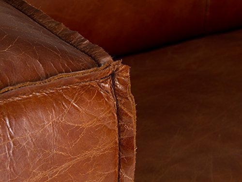 massivum Calverton Sofa 3Sitzer Echtleder Vintage, Leder, braun, 104 x 244 x 76 cm