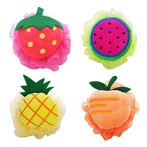 Frcolor 4pcs fruits en forme de maille pouf de bain spong doux exfoliant loofah bain de boule de corps pou